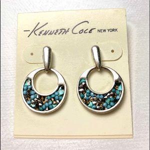 Dangling Post Turquoise & Crystal Earrings